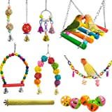 E-KOMG 13 Packs Bird Swing Toys,Parrot Chewing Hanging Perches with Bell,Pet Birds Cage Toys Suitable for Small Parakeets,Lov