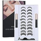 Magnetic False Eyelashes Set with Magnetic Liquid Eyeliner & 10 Pairs Magnetic False Eyelashes Black Magnetic Fake Lashes for
