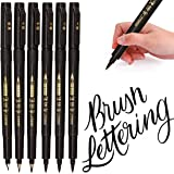 Hand Lettering Pens, Calligraphy Pen Brush Markers Set, Refillable - 4 Size(6 Pack), for Beginners Writing, Art Drawings, Wat