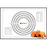 Large Silicone Baking Mat, TERSELY Professional Non Stick Dough Mat with Measurement for Pastry Rolling and Other Recipes & D