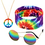 3 Pieces Rainbow Color Hippie Accessories, Including 1 Pair Sunglasses, 1 Peace Sign Necklace and 1 Peace Sign Headscarf