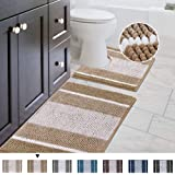 Original Striped Shaggy Chenille 2 Piece Bath Rug Set, 20x20 Square U-Shape Contoured Toilet Mat & 32x20 Carpet Rug, Machine
