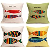 U-LOVE Sea Theme Fish Pillow Covers Cotton Linen Throw Pillow Cases 18 X 18 Inch,4 Pack(Sea-2)