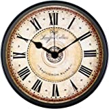 Wall Clock, JUSTUP 12 inch Black Wall Clock European Style Retro Vintage Clock Non - Ticking Whisper Quiet Battery Operated w