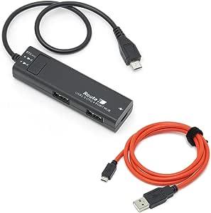 ルートアール 充電可能 4ポートスリムOTGハブ + microUSBケーブル RUH-OTGU4+C
