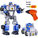 REMOKING 3 IN 1 DIY Robot Car Set,Take Apart Robot&Truck Toy with Electric Drill,Educational&Learning Building Deformable Rob