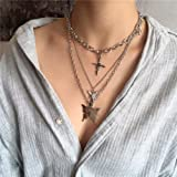 YERTTER Dainty Unique Punk Layering Chain Choker Necklace Boho Jewelry Set Layered Butterfly Pendant Statement Chunky Chain N