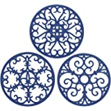 Non Slip Silicone Carved Trivet Mats Set for Dishes- Heat Resistant Coasters-Modern Kitchen Hot Pads for Pots & Pans   (Round