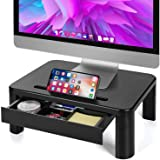 LORYERGO Monitor Riser Stand - Built with Storage Drawer, 3 Height Adjustable Monitor Stand for Computer, Laptop, Screen, Des