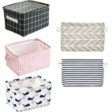 5 Pcs Foldable Storage Bin Basket,Foldable Fabric Storage Receive Basket with Handle Cotton Linen Blend Storage Bins for Make