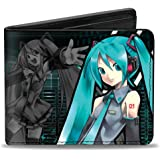 Buckle-Down Mens Buckle-down Pu Bifold - Hatsune Miku Pose/Singing Pose/Equalizer Black/Aqua Wallet, Multicolor, 4.0 x 3.5 US