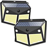 Solar Lights Outdoor 260LED, Wireless Double Solar Motion Sensor Lights with 300 Degrees Sensor Angle, IP65 Waterproof Solar