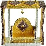 Golden Krishna Jhula Swing Wooden Handcrafted Decorative Laddu Gopal Jhula, jhula for Gopalji Indian Traditional Festival Dec