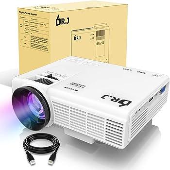 LED プロジェクター 小型 2200ルーメン 1080PフルHD対応 800*480解像度 HDMIケーブル付属 台形補正 パソコン/スマホ/タブレット/ゲーム機など接続可能 USB/マイクロSD/HDMI/AV/VGAサポート 標準的なカメラ三脚に対応 3年保証