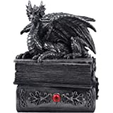 Mythical Guardian Dragon Trinket Box Statue with Hidden Book Storage Compartment for Decorative Gothic & Mediaeval Home Decor