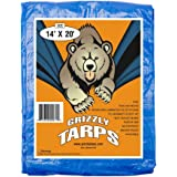 B-Air Grizzly Tarps 14 x 20 Feet Blue Multi Purpose Waterproof Poly Tarp Cover 5 Mil Thick 8 x 8 Weave