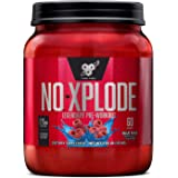 BSN N.O.-XPLODE Pre Workout Powder, Energy Supplement for Men and Women with Creatine and Beta-Alanine, Flavor: Blue Raz, 60