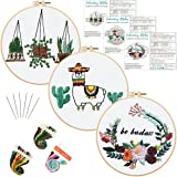 Louise Maelys 3 Pack Hand Embroidery Starter Kit for Adults Cross Stitch Needlepoint Kits Stamped Pattern Beginner Embroidery