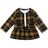 Asashitenel 2Pcs Toddler Baby Girls Kid Long Sleeve Plaid Cardigan Coat Outwear +Plaid Dress Tutu Skirt Princess Party Formal