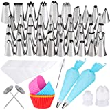 Gyvazla 72 Pieces Cake Decorating Set, Including 50 Icing Tips, 10 Disposable Icing Bags, 2 Reusable Piping Bags, 2 Flower Na