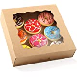 Moretoes 24pcs Brown Pie Boxes 10x10x2.5in Kraft Bakery Boxes with Window for Pies, Cookies and Muffins