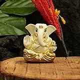CraftVatika Gold Plated Off White Terracotta Appu Ganesha for Car Dashboard Statue God Ganesh Murti Ganpati Idol FigurineHome