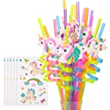 Reusable Unicorn Drinking Plastic Straws + Unicorn Temporary Tattoos for Girls | Unicorn Birthday Party Supplies - Rainbow Un