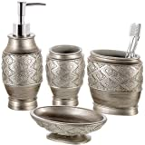 Dublin 4-Piece Bathroom Accessories Set - Includes Decorative Countertop Soap Dispenser, Dish, Tumbler, Toothbrush Holder, Re