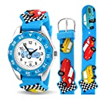 Sports Race Car Driver Waterproof Wrist Watch Time Teacher Quartz 3D Cartoon Blue Silicone Wristband Colorful Round Dial