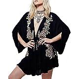 R.Vivimos Women's Bat Sleeves Embroide V-Neck Cotton Dresses