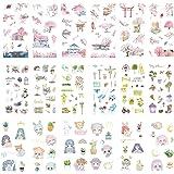 Kawaii Stationery Sticker Set (Assorted 18 Sheets) Pink Sakura Cherry Blossom Household Gardening Tool Cute Girl Flower Succu