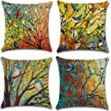 Jasfura Set of 4 Spring Birds Geometry Throw Pillow Covers 18x18 Inch Decorative Couch Pillow Cases Cotton Linen Case Square