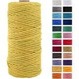 3mm x 109Yards Macrame Cord Thick Natural Cotton Macrame Rope, 4 Strand Twisted Cotton Cord Rope for Soft Macrame Natural Col