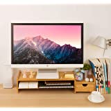 Monitor Stand Riser Desk Organizer-Bamboo 2 Tier Laptop Stand with Drawers, Adjustable Desktop Storage Organizer for Computer