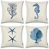 (Blue) - Onway Ocean Park Cotton Linen Theme Decorative Pillow Cover Case D 46cm X 46cm Square Shape-Ocean-Beach-sea-Print-St