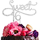 LINGPAR Sweet 16 Cake Topper for 16 Years Birthday Or 16th Wedding Anniversary Crystal Rhinestone Party Decoration Silver Sil