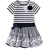 LittleSpring ワンピース キッズ ボーダー チュールスカート 切り替え ドッキングワンピース 姫ドレス