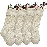 Vanteriam Pack 4 Christmas Stockings, 15'' Unique Ivory White Knit Christmas Stockings for Xmas Decorations, Set of 4