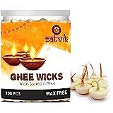 Pure Ghee Wicks (Pack of 100 Pcs) / Readymade Ghee Cotton Wicks/Diya Batti/Puja Batti
