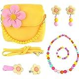 CMK TRENDY KIDS Toddlers Dress Up Plush Flower Handbag Set with Jewelry Small Purse for Little Kids Girls