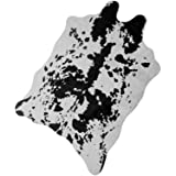 NativeSkins Faux Cowhide Rug Black and Gray White Large (4.6ft x 6.6ft) - Cow Print Area Rug for a Western Boho Decor - Synth