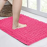 Walensee Bathroom Rug Non Slip Bath Mat (24x17 Inch Hot Pink) Water Absorbent Super Soft Shaggy Chenille Machine Washable Dry