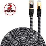 Ethernet Cable Cat 7 DanYee Flat High Speed Nylon LAN Network Patch Cable Gold Plated Plug STP Wires CAT 7 RJ45 Ethernet Cabl