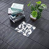 "PANDAHOME 22 PCS Wood Plastic Composite Patio Deck Tiles, 12""x12"" Interlocking Decking Tiles, Water Resistant for Indoor & Ou"