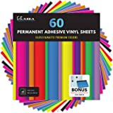"Kassa Permanent Vinyl Sheets (Pack of 60-12"" x 12"") - Includes Bonus Squeegee - Matte & Glossy Assorted Colors Bundle - Self"