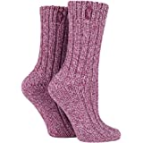 Jeep - 2 Pack Ladies Thick Knitted Warm Wool Blend Hiking Walking Boot Socks