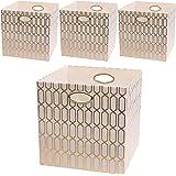 Posprica Storage Bins, Storage Cubes,13×13 Fabric Drawers Organizer Basket Boxes Containers, Cream, 13''/4pcs