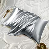 """Satin Pillowcases - Grey Queen Size 20"""" x 30"""" Pack of 2 Pillow Covers Soft and Cozy for Hair and Skin with Envelope Closure B"""