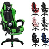 Gaming Chair Racing Chair Executive Sport Office Chair PU Leather Armrest Footrest Headrest Home Chair (Green)