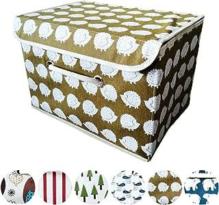 MABA 収納ボックス ふた付き 小型 取っ手付き 引き出し カラーボックス収納 小物収納 おもちゃ収納 服収納 子供用 大小サイズ (38*25*25cm, ハリネズミ)